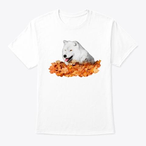 Autumn White Wolf White T-Shirt Front