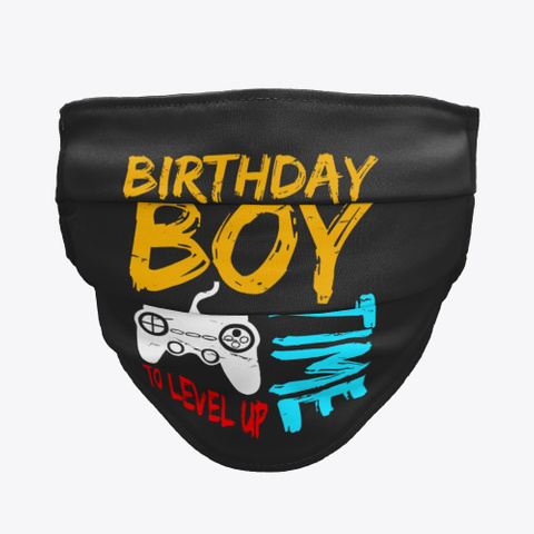 Birthday Boy Time To Level Up  Black T-Shirt Front