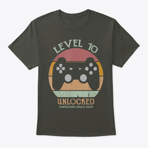 10th Birthday Gamer Level 10 Unlocked Smoke Gray T-Shirt Front