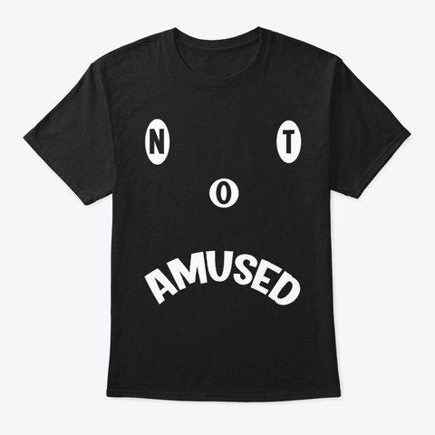 Not Amused Sad Face Smiley Black T-Shirt Front