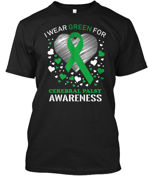 Cerebral Palsy Awareness Ribbon Heart Black T-Shirt Front