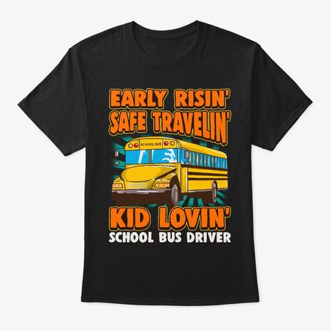 Kid Loving School Bus Driver Black Camiseta Front