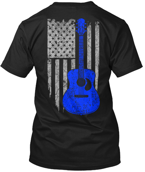 Guitar   Usa Flag Black T-Shirt Back