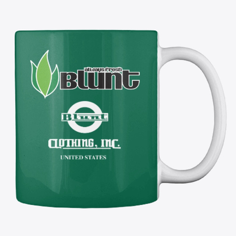 Blunt Green Logo Always Fresh Mug Forest Green T-Shirt Back