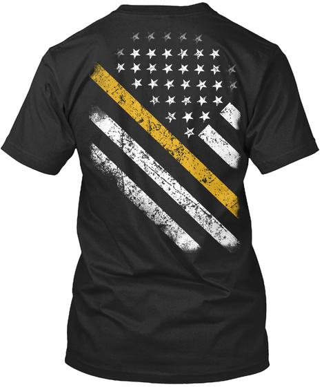 Yellow Line Flag Black T-Shirt Back