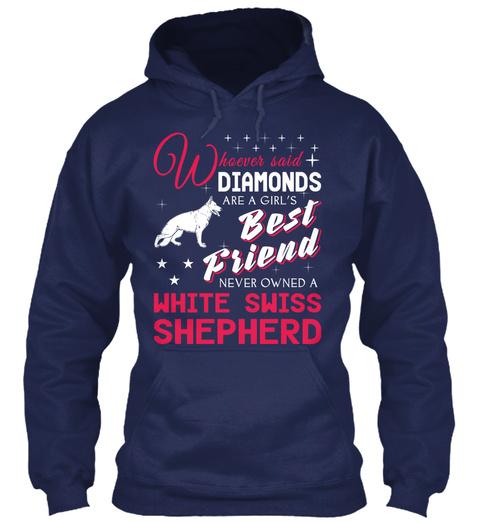White Swiss Shepherd Gift Shirt. Navy T-Shirt Front