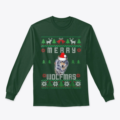 Wolf Merry Wolfmas T Shirt Christmas Forest Green T-Shirt Front