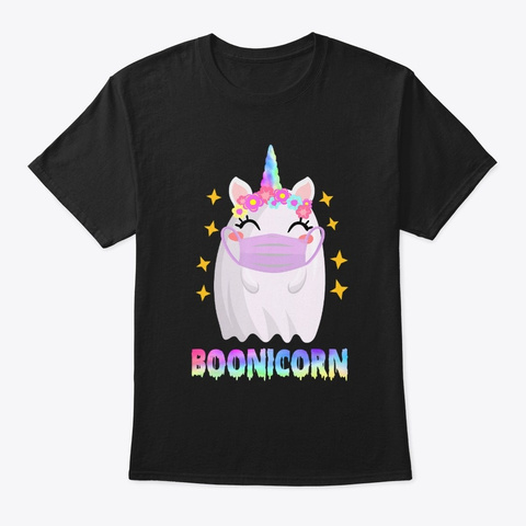 Boonicorn Unicorn Ghost  Halloween Black T-Shirt Front