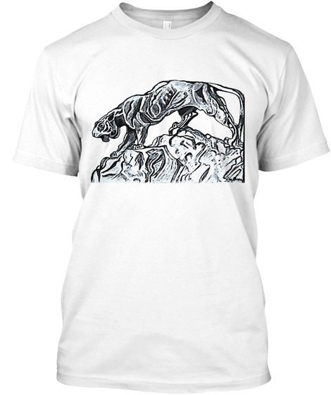 Mountain Lion Art White T-Shirt Front