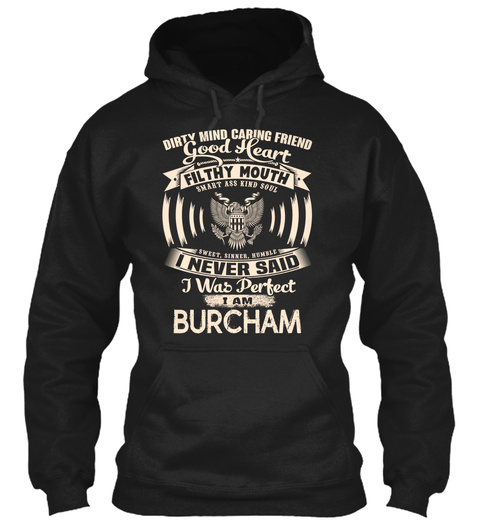 Burcham Name Perfect Black T-Shirt Front