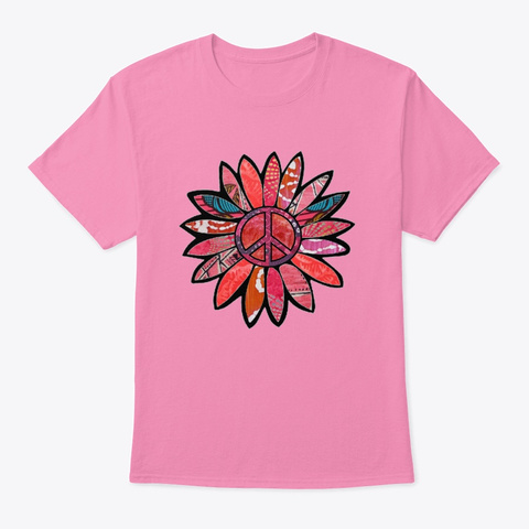 Pink Bliss Peace Flower  Pink T-Shirt Front