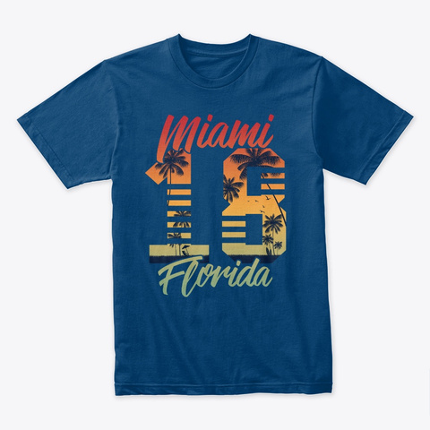 Shirt Florida Fl Palm Trees Summer 2019 Cool Blue T-Shirt Front