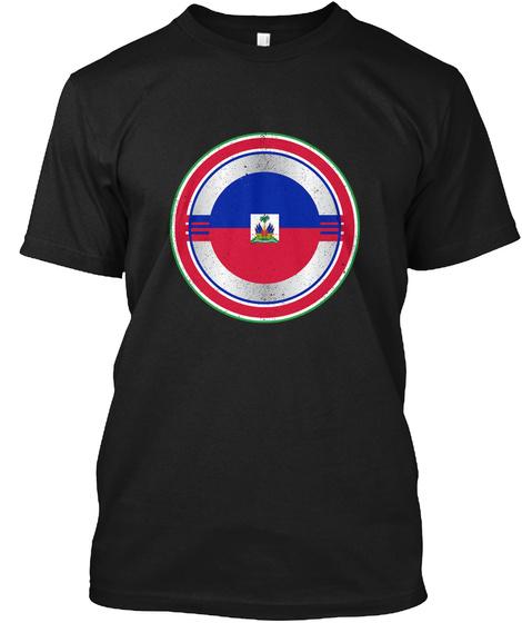 Captain Haiti Distressed Shield Shirt Black T-Shirt Front