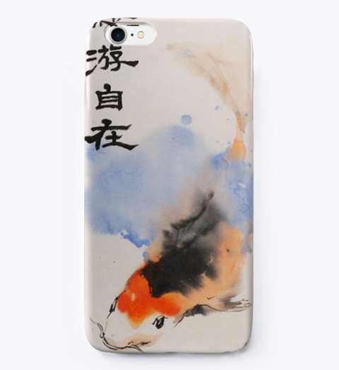 Rainbow Koi Phone Case White T-Shirt Front