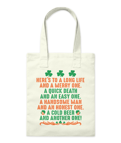 St. Patrick's Day Toast   Tote Bag Natural T-Shirt Front