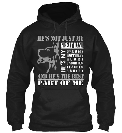 Hes Not Just My Great Dane Hes My Dreams Happiness Heart Laughter Teacher Sanity And Hes The Best Part Of Me Black T-Shirt Front