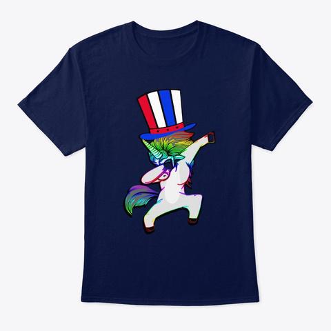 Freedom Celebration Funny Dabbing Unicor Navy T-Shirt Front
