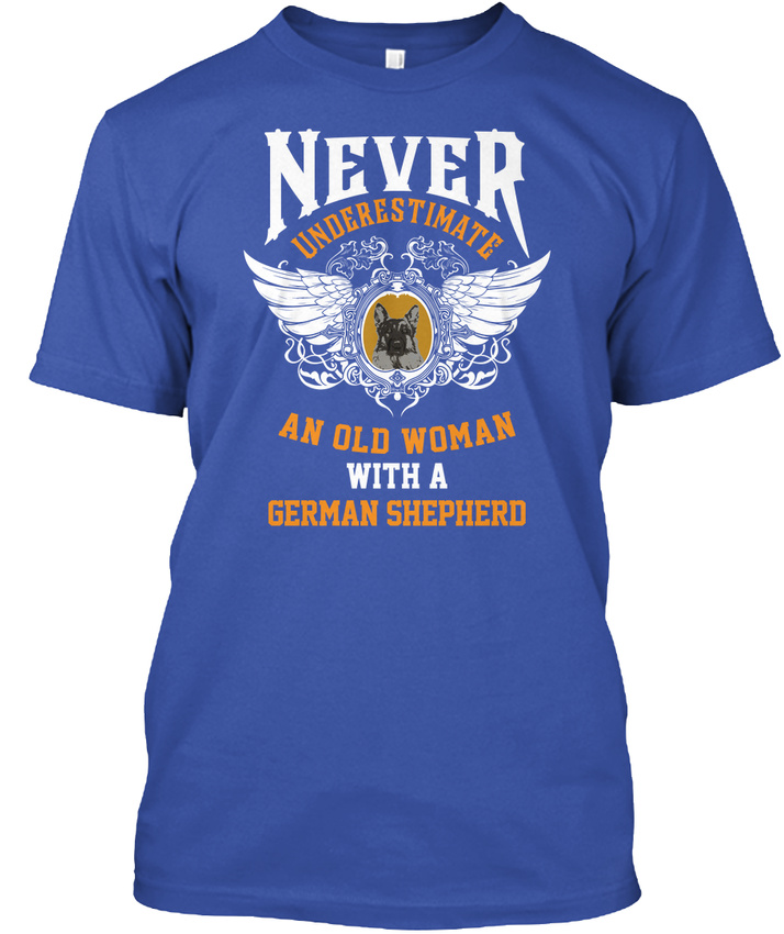 Sur la tendance Vieille femme Standard avec un berger allemand-jamais Standard femme Unisexe T-Shirt 186843