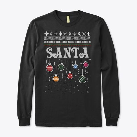 Santa Christmas Ugly Family Sweater Black T-Shirt Front