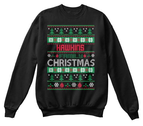 Hawkins Family Christmas Black T-Shirt Front