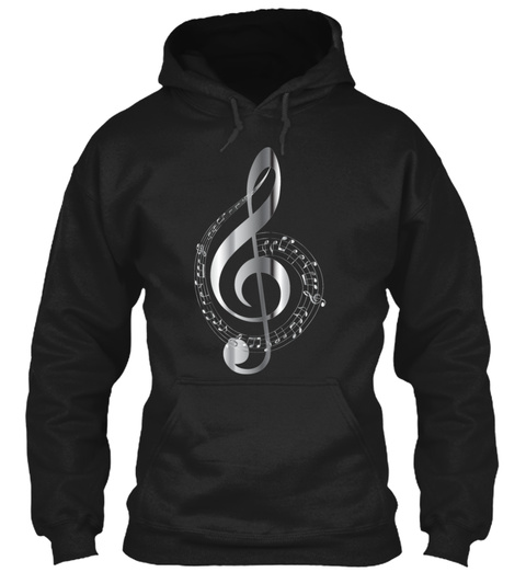 Chrome Musical Notes Typography No Backg Black T-Shirt Front