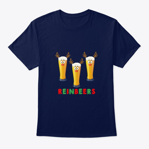 Reinbeer Funny Christmas For Beer Lover Navy T-Shirt Front