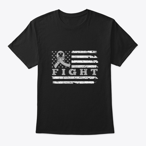 Fight Gray Ribbon Us Flag Brain Cancer Black T-Shirt Front