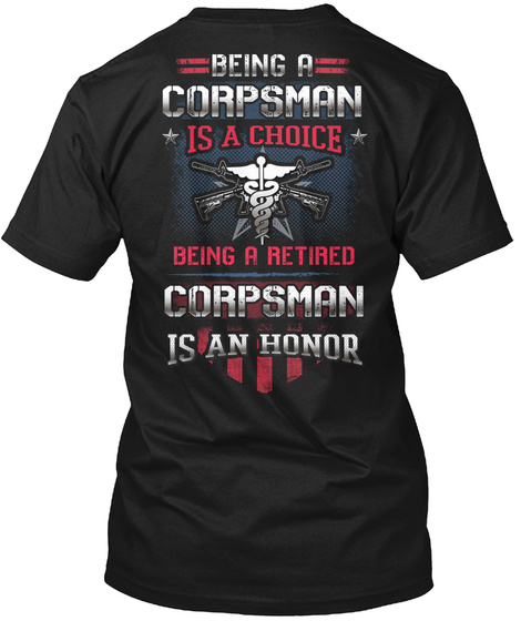 Retired Corpsman Hoodie Black T-Shirt Back