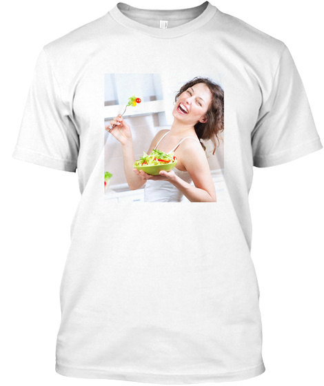 Laughing Woman Eating Vegetable Salad White T-Shirt Front