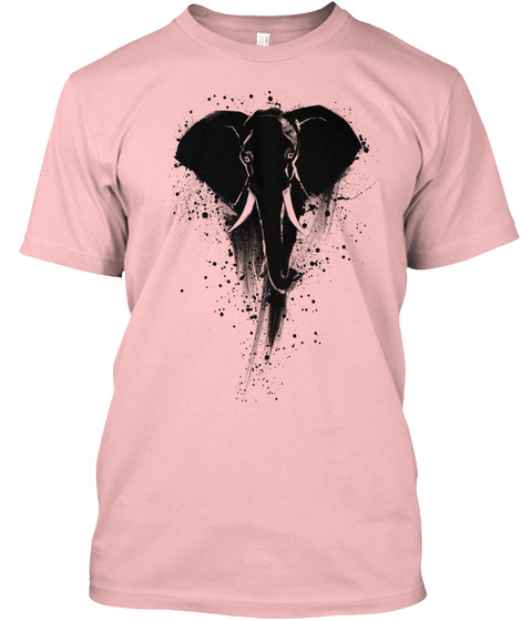 Save The Elephant Art Tshirt Pale Pink T-Shirt Front