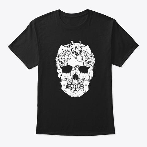 Funny Dogs Skull Dog Lovers Halloween  Black T-Shirt Front