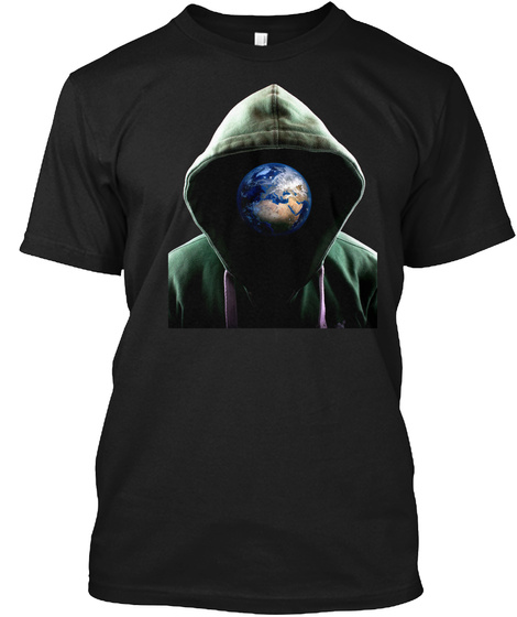 Man With Globe Face T Shirt Black T-Shirt Front
