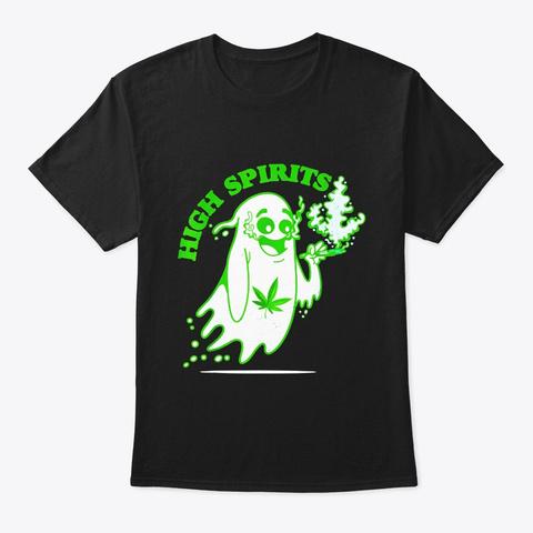 Funny Halloween Marijuana Cannabis Ghost Black T-Shirt Front