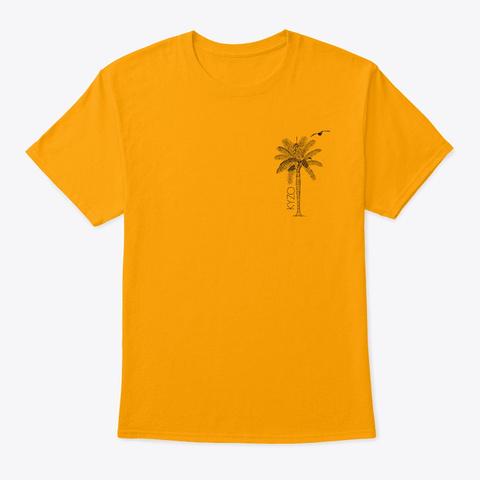 Kyzo Palm & Bird Gold T-Shirt Front