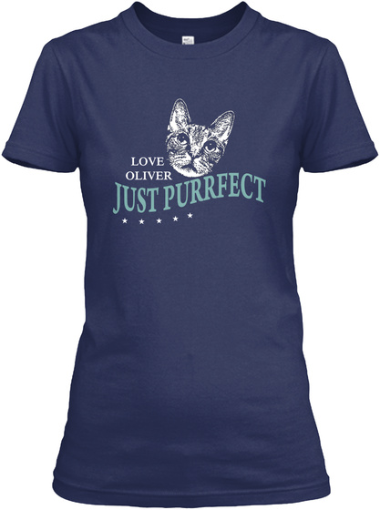 Love Oliver Just Purrfect  Navy T-Shirt Front
