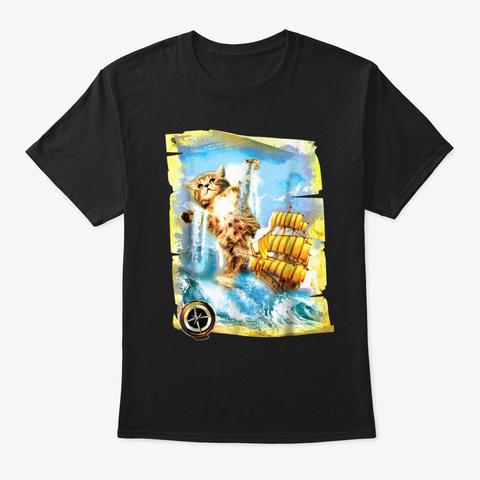 Funny Cat T Shirt, Kraken Cat, Spoof, Hi Black T-Shirt Front