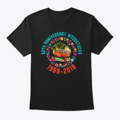 Woodstocks 50th Anniversary T Shirt Black T-Shirt Front