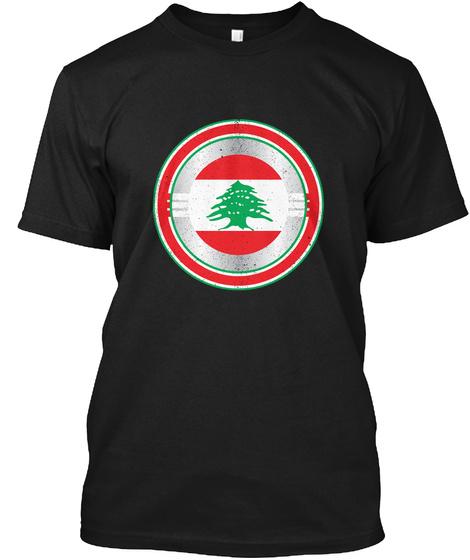 Captain Lebanon  Distressed Shield Shirt Black T-Shirt Front