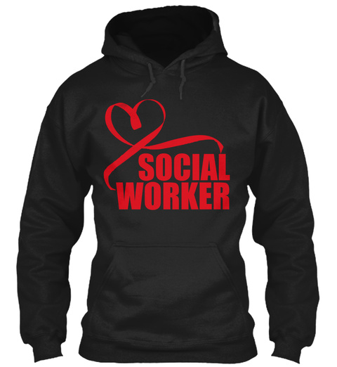 Social Worker Black T-Shirt Front