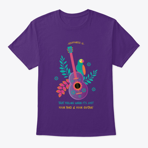 Happiness Bird And Guitar  Purple T-Shirt Front