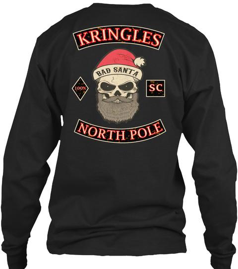 Kringles North Pole Black Long Sleeve T-Shirt Back