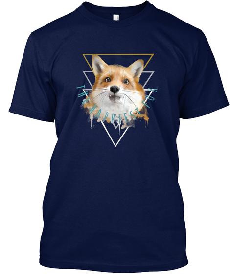 Juniper, The Happiest Fox Navy T-Shirt Front