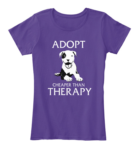 Adopt Cheaper Than Therapy Purple T-Shirt Front