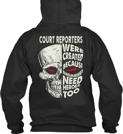 Court Reporters Jet Black T-Shirt Back