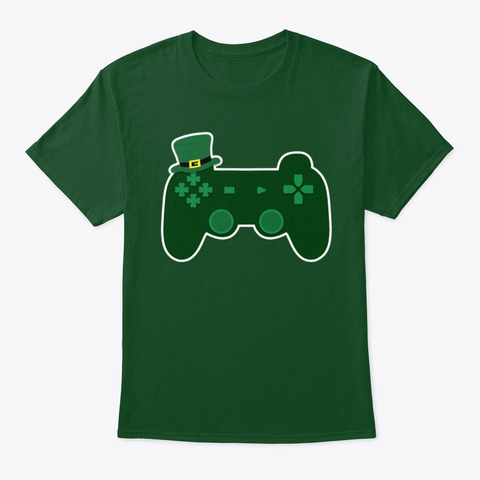 Video Game Controller St Patrick's Day Deep Forest T-Shirt Front