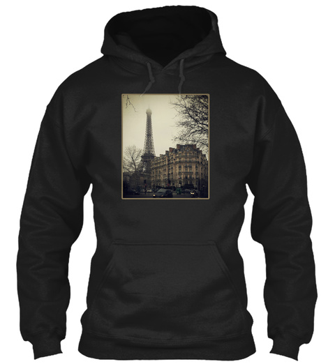 Paris Eiffel Tower Black Kaos Front