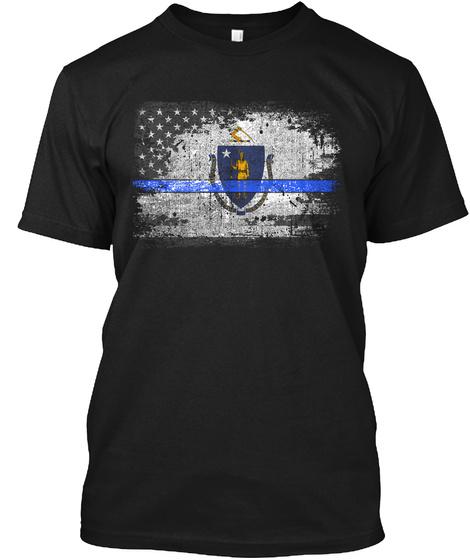 Massachusetts Thin Blue Line Flag Black T-Shirt Front