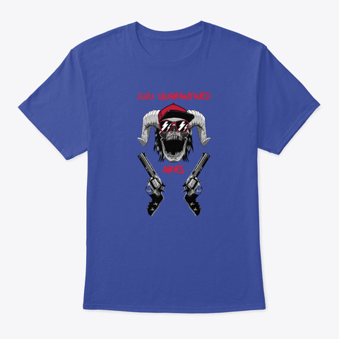 Skull With Guns   Aries Schoolboy Deep Royal T-Shirt Front