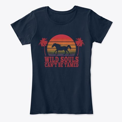 Rainbow Sunset Horse New Navy T-Shirt Front