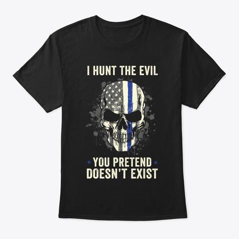 Thin Blue Line Skull Police T Shirt Black T-Shirt Front